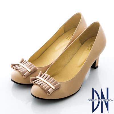 DN-通勤首選-MIT立體飾扣素面跟鞋-裸