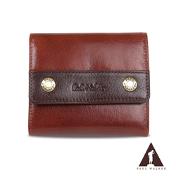 Paul Walker 原皮系列植鞣皮革10卡透明窗零錢袋三摺短夾 咖