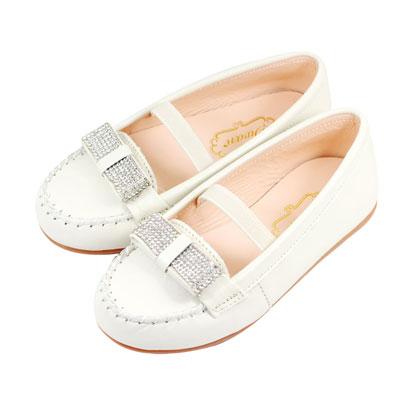 Swan天鵝童鞋-全真皮水鑽蝴蝶結莫卡辛皮鞋 3803-米