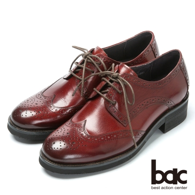 bac英倫學院 率性時尚牛津鞋-酒紅色