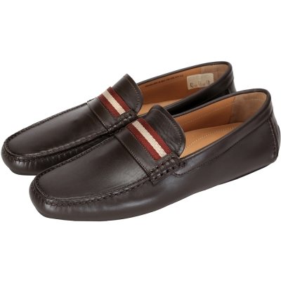 BALLY 紅白織帶飾素面牛皮樂褔鞋(咖啡色)