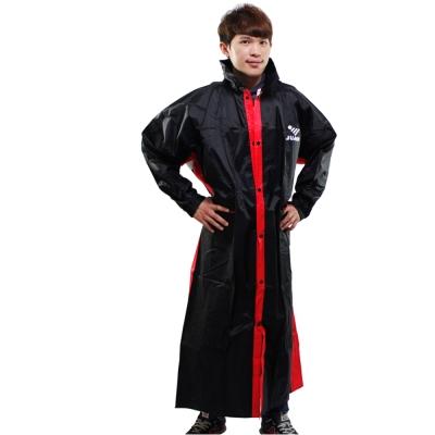 新二代 JUMP優帥前開式休閒風雨衣-黑紅