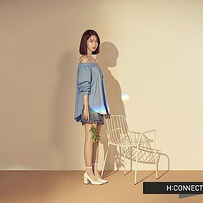 H:CONNECT 韓國品牌 女裝 - 不對稱磨破牛仔短裙