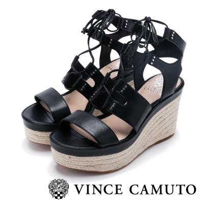 VINCE CAMUTO 度假美學 寬版綁帶草編楔型涼鞋-黑色