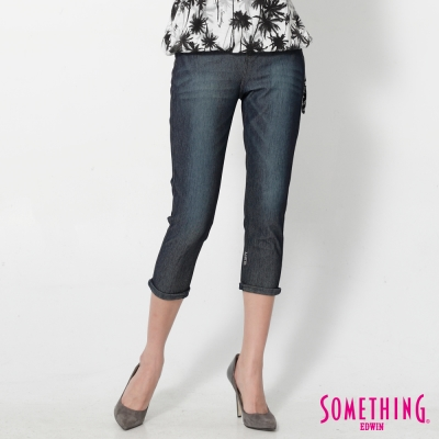 SOMETHING LADIVA 小泡褲牛仔褲-女-原藍磨