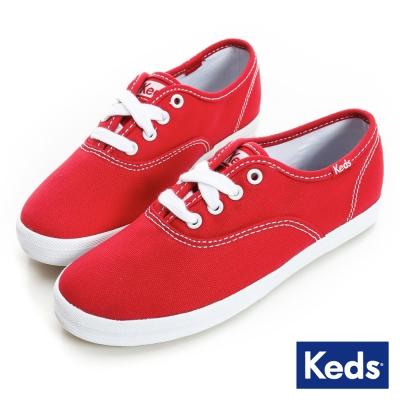 Keds 品牌經典綁帶休閒鞋(For Kids)-紅