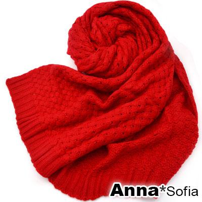 AnnaSofia-綺呢交叉線網-加長針織長圍巾-櫻紅系