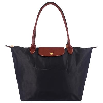Longchamp咖啡色皮飾邊長背帶折疊水餃包(鐵灰色/大)