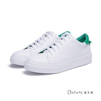 達芙妮DAPHNE 休閒鞋-後跟拼色基本款綁帶球鞋-綠
