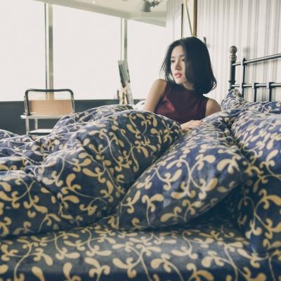 PRIMARIO 台灣製 雙人-防靜電極緻保暖法蘭絨被套/床包四件組 瑪格利特