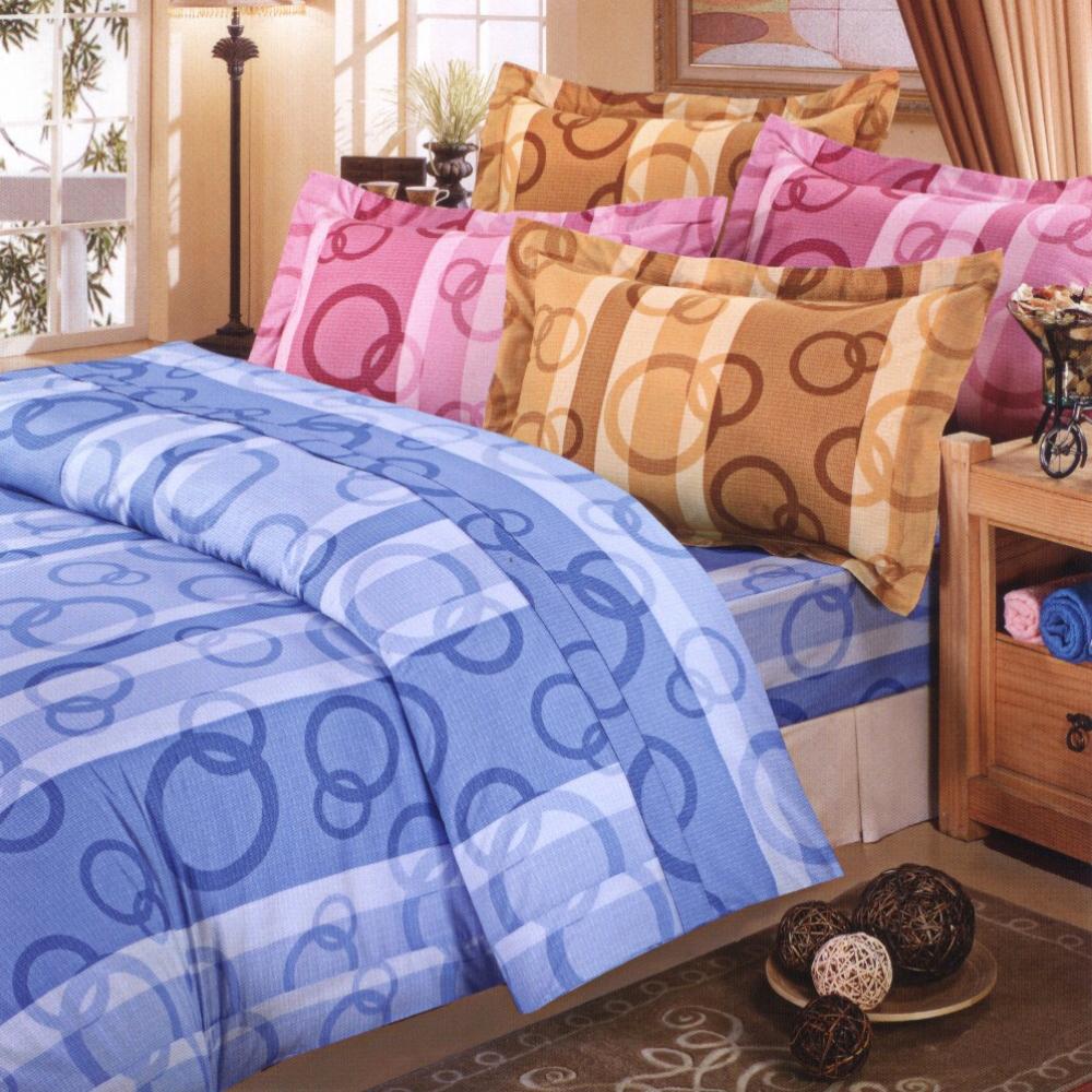 艾莉絲-貝倫 圈圈相連 高級混紡棉 單人鋪棉兩用被床包三件組