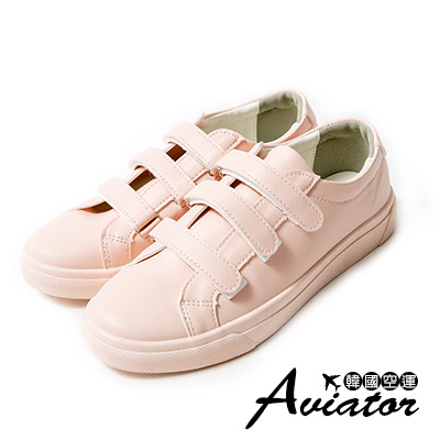 Aviator*韓國空運。正韓製皮革三帶魔鬼氈小白鞋-粉