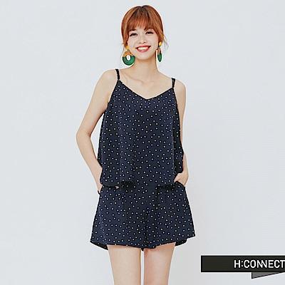 H:CONNECT 韓國品牌女裝-兩件式甜美小圓點套裝-藍