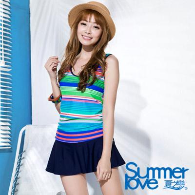 SUMMERLOVE夏之戀 彩色橫條紋褲連裙長版二件式泳衣