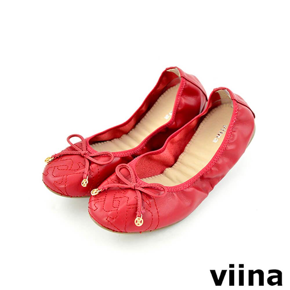 viina 可愛小logo蝴蝶結摺疊鞋MIT-紅色