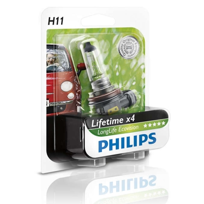 PHILIPS 飛利浦 四倍壽命環保車燈(H11)公司貨-急速配