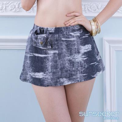 澳洲Sunseeker泳裝配品仿牛仔A字泳裙-牛仔灰
