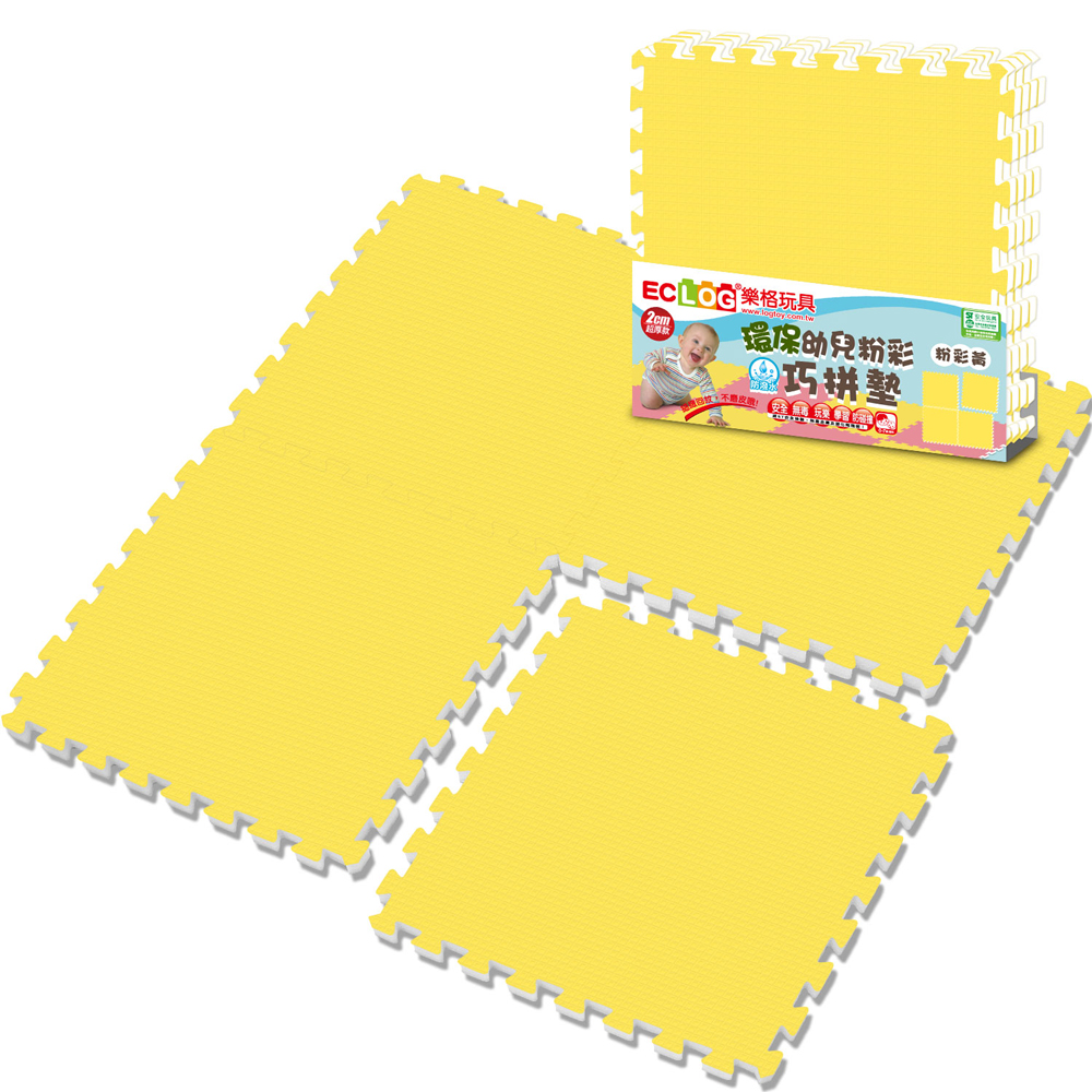 LOG樂格 環保無毒EPE粉彩巧拼墊 -小鴨黃 (60X60cmX厚2cmX4片)