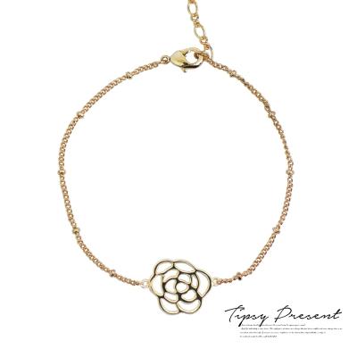 微醺禮物 腳鍊 鍍18K金 優雅玫瑰 雙面 足鍊