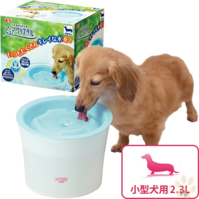 日本GEX 犬用-淨水飲水器 2.3L(藍色)附濾網一片