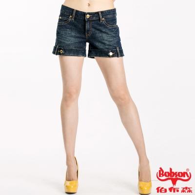 BOBSON女款小尻革命金釦反褶短褲