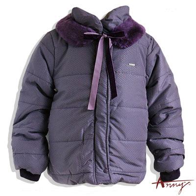 可愛點點綁帶造型毛領鋪棉外套*4686紫