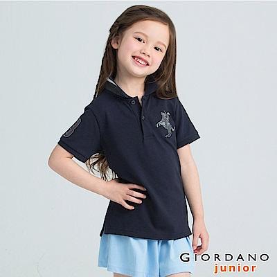 GIORDANO 童裝拿破崙刺繡短袖POLO衫-87 標誌海軍藍