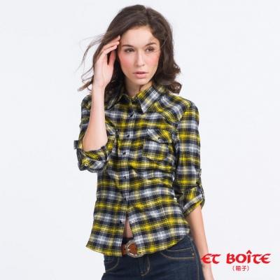 ETBOITE 箱子 BLUE WAY 法蘭絨格子長袖襯衫-黃黑格