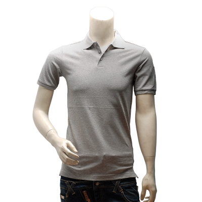 Y-3  adidas山本耀司經典LOGO素面純棉立領短袖POLO衫(淺灰)