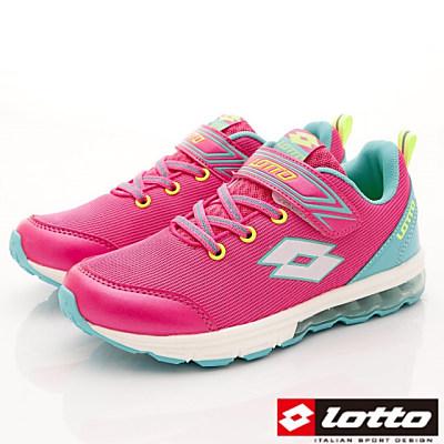 Lotto義大利運動鞋 夜光氣墊跑鞋 FI953 粉紅 (中大童段)T