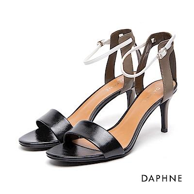 達芙妮DAPHNE 涼鞋-一字帶拼接撞色細高跟涼鞋-黑