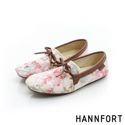 HANNFORT FLEX360緹花織紋平底鞋-女-花卉紅