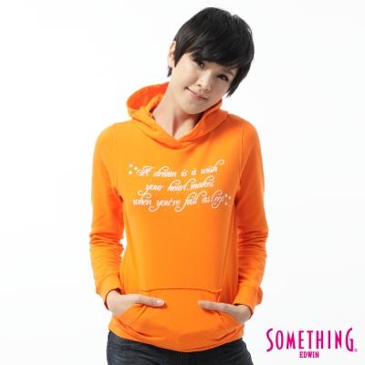 SOMETHING都會文字連帽T恤-女款-桔色