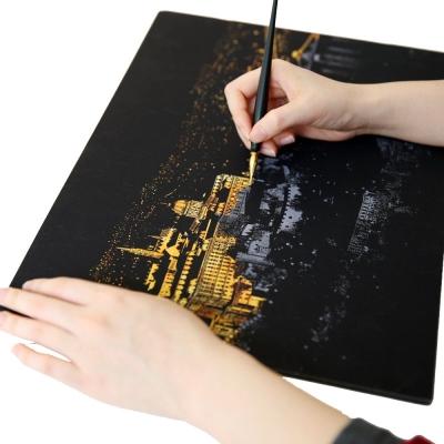 LAGO 手刮城市金色夜景手刮畫(附刮棒)-布達佩斯
