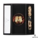 ARTEX 封印龍鋼珠筆 雙手造型筆座/金 禮盒