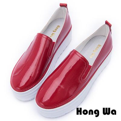 Hong Wa 舒適簡約牛皮厚底懶人鞋 - 紅