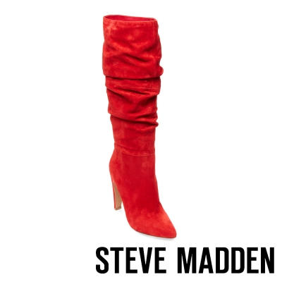 STEVE MADDEN-CARRIE-RED 真皮尖頭高跟長筒套靴-紅色