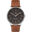 TIMEX 天美時 Waterbury經典系列極簡設計手錶-黑面x咖啡/40mm