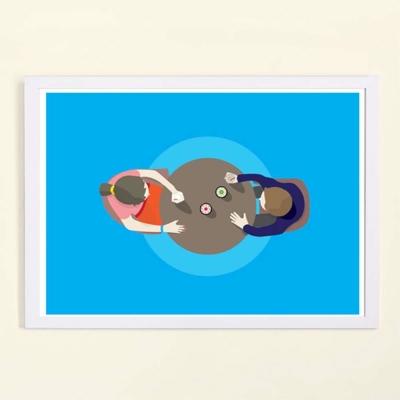 摩達客西班牙知名插畫家Judy Kaufmann藝術創作海報掛畫裝飾畫-喝咖啡