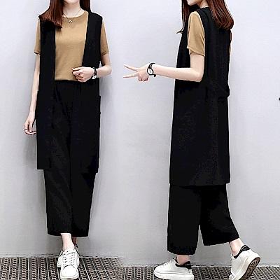 中大尺碼卡其色上衣加黑色長背心加闊腿褲三件式套裝XL~4L-Ballet Dolly