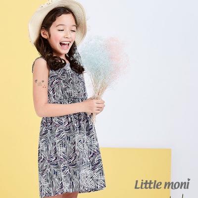 Little moni 度假風情無袖印花洋裝 深藍