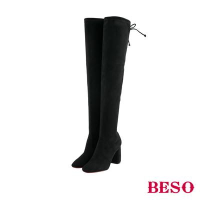 BESO 性感名模 後綁帶蝴蝶結過膝高跟長靴~黑