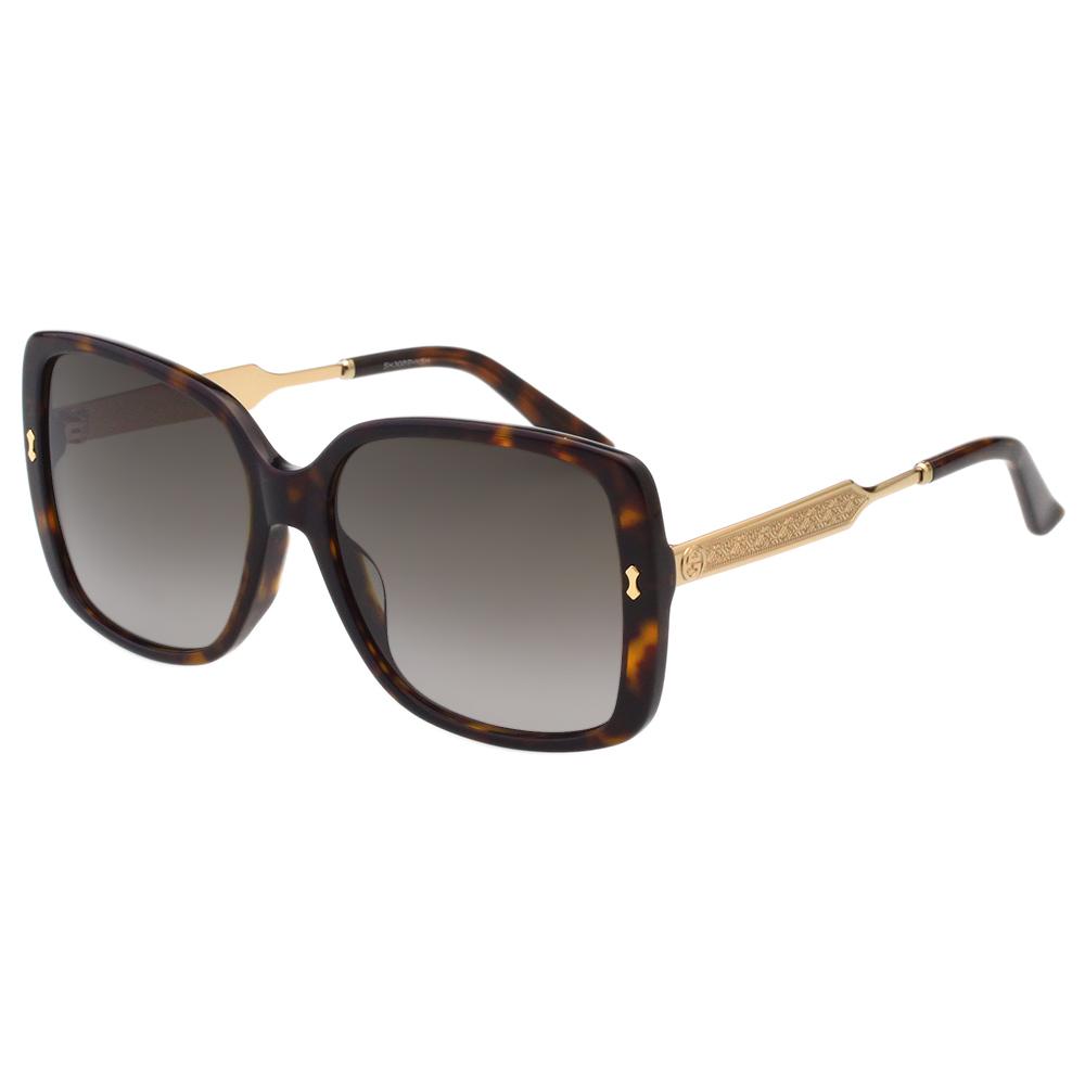 GUCCI 皇室風格紋路 太陽眼鏡(琥珀色)
