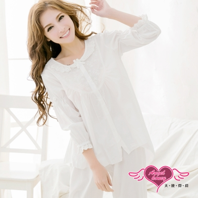 居家睡衣 布蕾絲前短後長七分袖衣褲組(白F) 天使霓裳