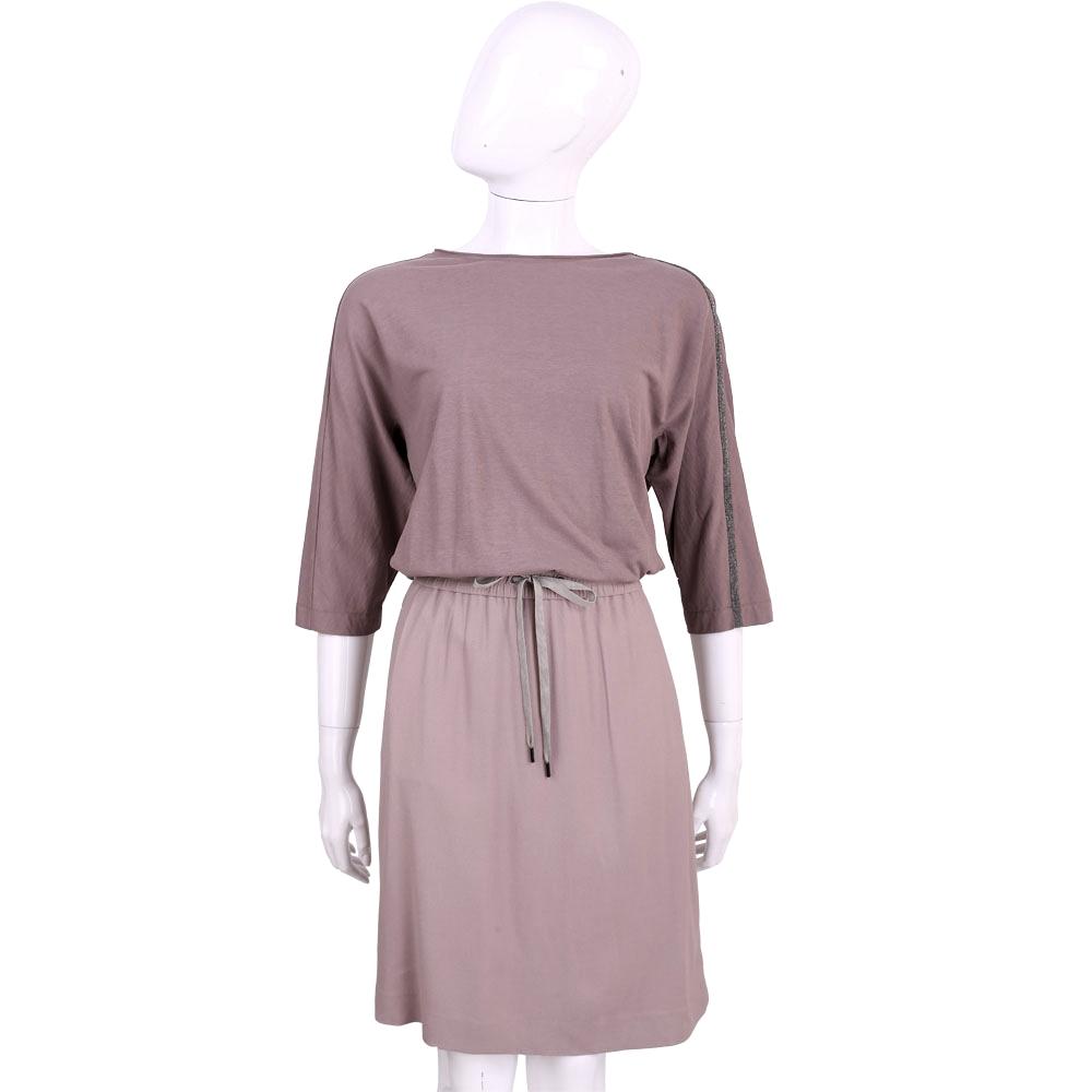 FABIANA FILIPPI 紫耦色雙料拼接七分袖綁腰洋裝