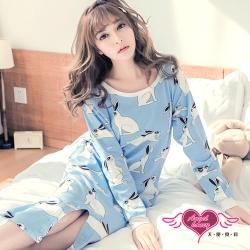 居家睡衣 仰望月兔 長袖一件式居家兩穿休閒服(藍F) AngelHoney天使霓裳