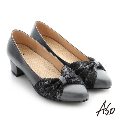 A.S.O 拇指外翻 真皮雙色蝴蝶結飾釦奈米尖頭低跟鞋 灰色