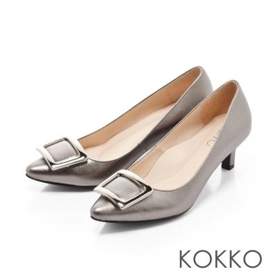 KOKKO- 優雅金屬方扣尖頭真皮高跟鞋 - 復古銅