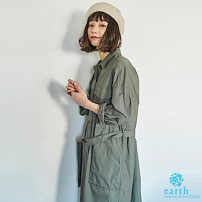 earth music 軍裝風雙口袋襯衫洋裝