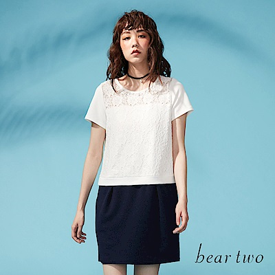 beartwo 網路限定-布花透膚蕾絲拼接經典洋裝(二色)